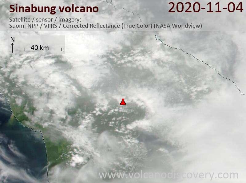 Satellite image of Sinabung volcano on  4 Nov 2020