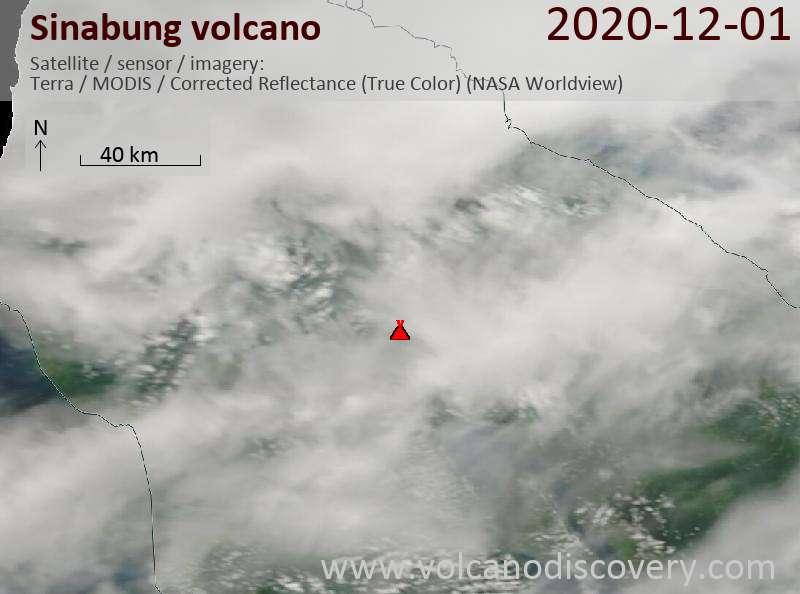 Satellite image of Sinabung volcano on  2 Dec 2020