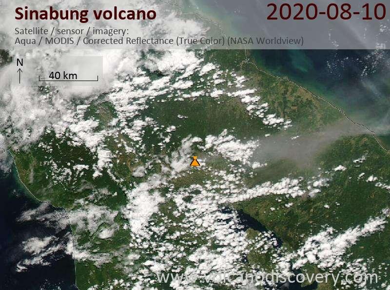 Спутниковое изображение вулкана Sinabung 10 Aug 2020