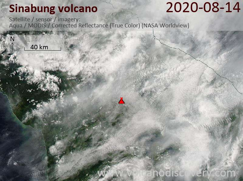 Satellite image of Sinabung volcano on 15 Aug 2020