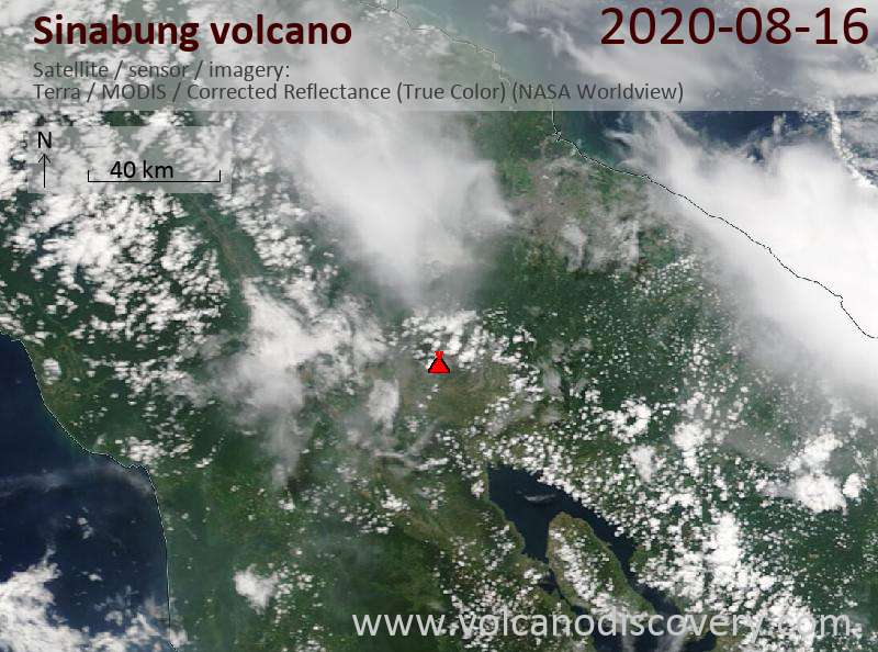 Satellite image of Sinabung volcano on 16 Aug 2020