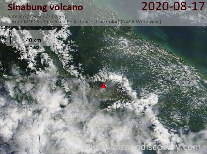 Satellite image of Sinabung volcano on 17 Aug 2020
