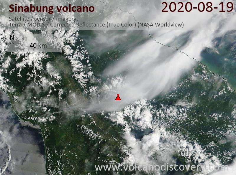 Satellite image of Sinabung volcano on 20 Aug 2020