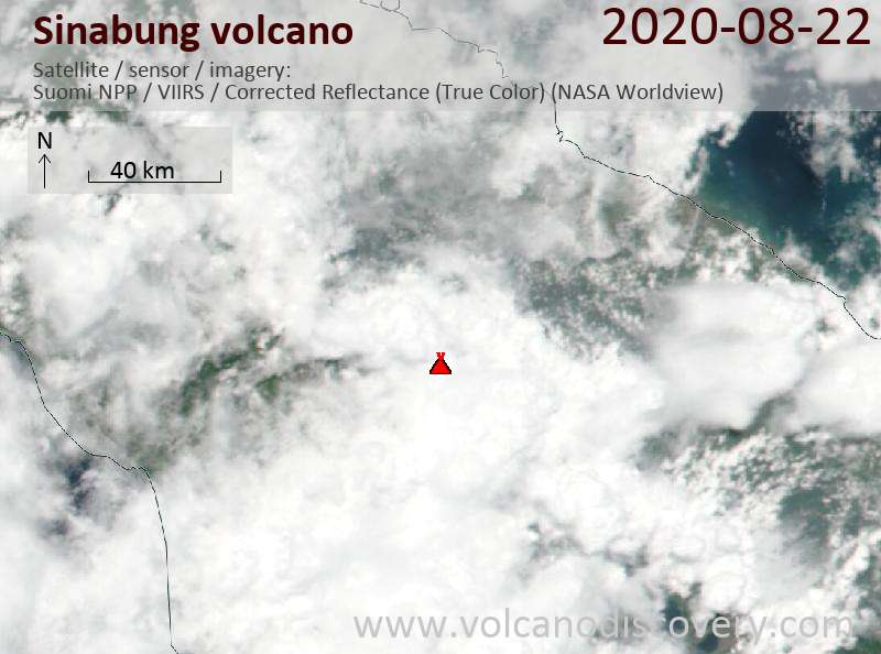Satellite image of Sinabung volcano on 23 Aug 2020