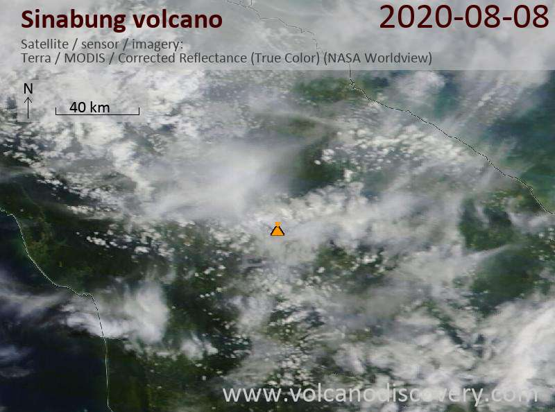 Satellite image of Sinabung volcano on  8 Aug 2020