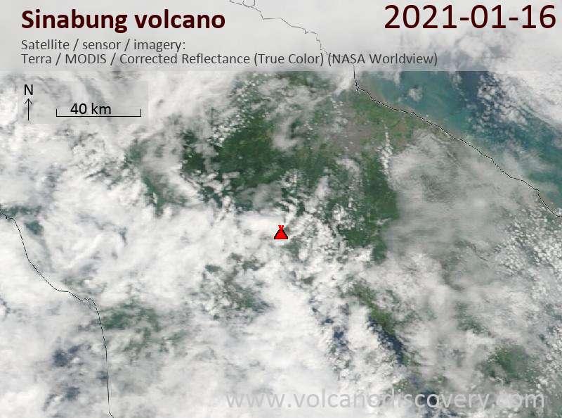 Satellite image of Sinabung volcano on 16 Jan 2021