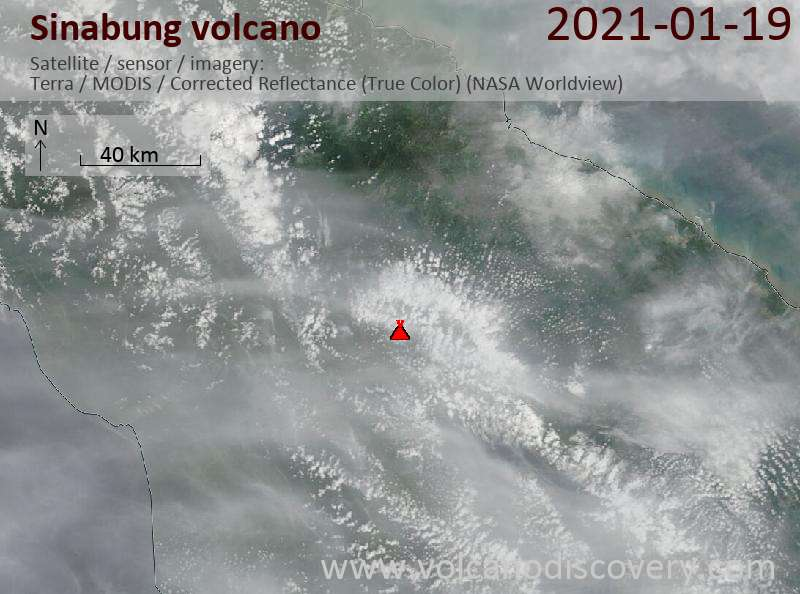 Satellite image of Sinabung volcano on 19 Jan 2021
