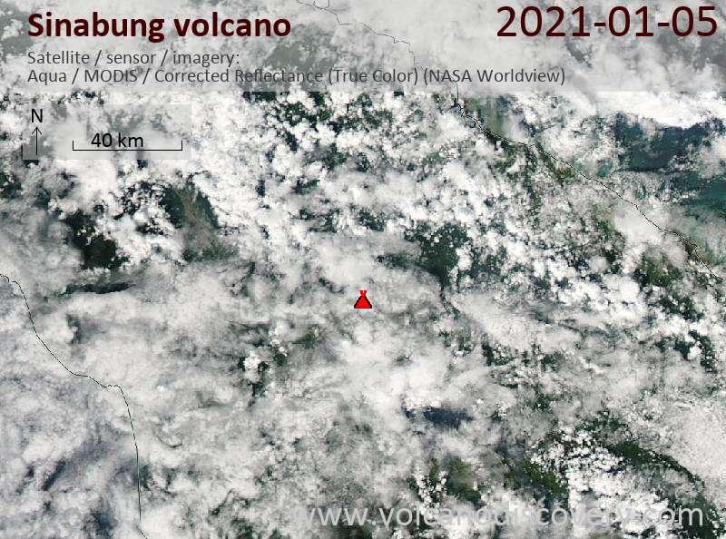 Satellite image of Sinabung volcano on  5 Jan 2021