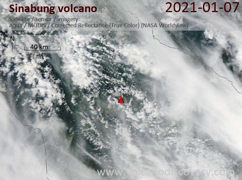 Satellite image of Sinabung volcano on  7 Jan 2021