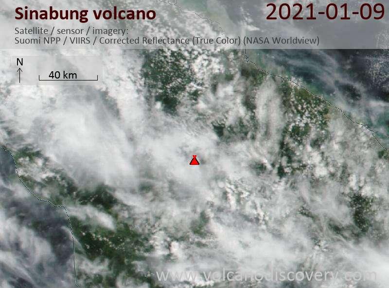 Satellite image of Sinabung volcano on  9 Jan 2021