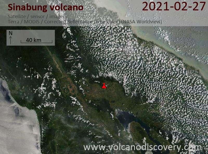 Satellite image of Sinabung volcano on 28 Feb 2021