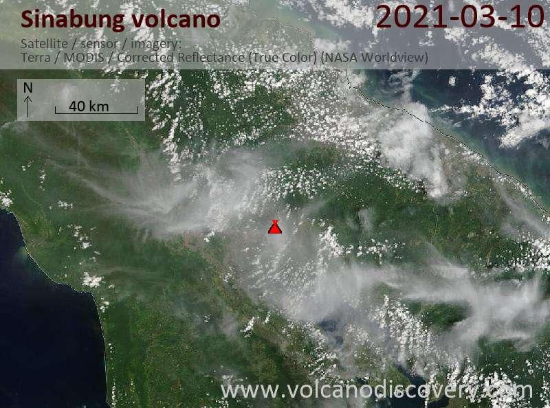 Satellite image of Sinabung volcano on 10 Mar 2021