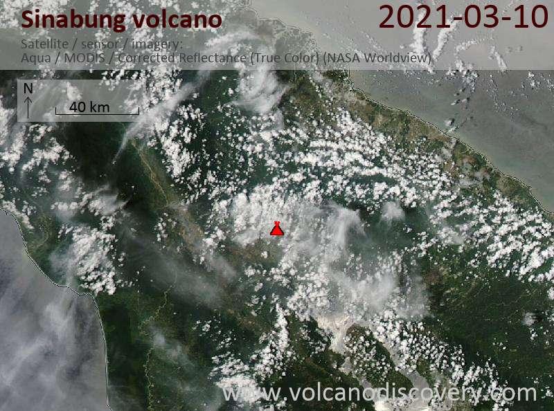 Satellite image of Sinabung volcano on 11 Mar 2021