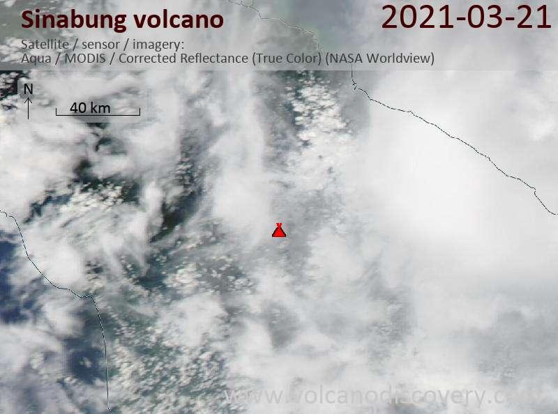 Satellite image of Sinabung volcano on 21 Mar 2021