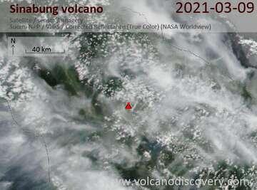 Satellite image of Sinabung volcano on  9 Mar 2021