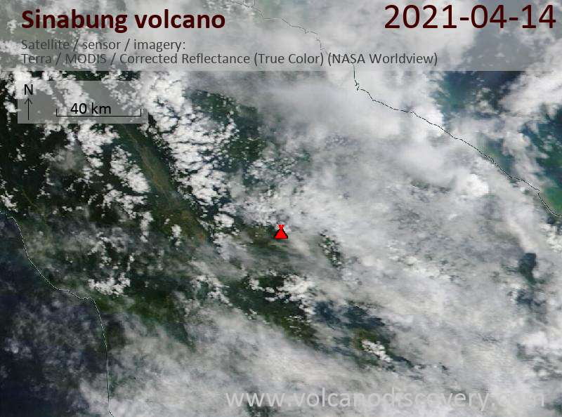 Satellite image of Sinabung volcano on 15 Apr 2021
