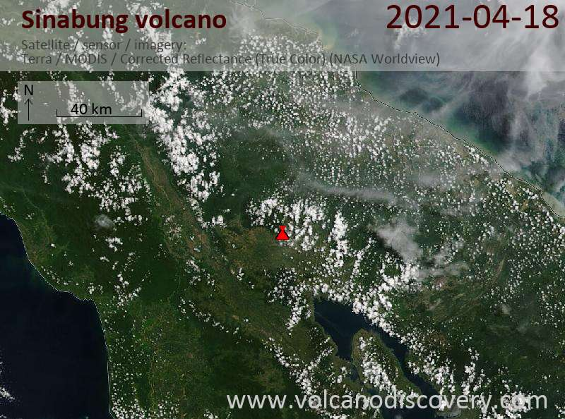 Satellite image of Sinabung volcano on 19 Apr 2021