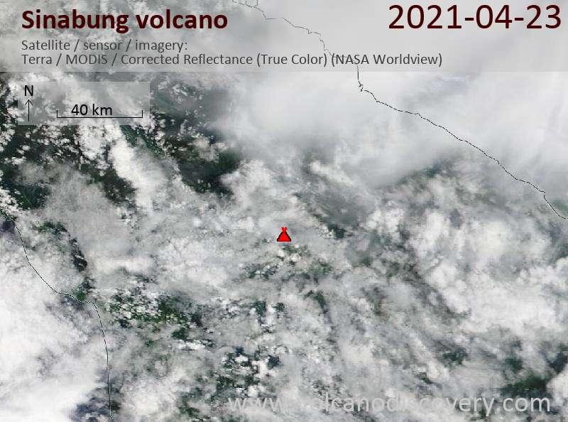 Satellite image of Sinabung volcano on 24 Apr 2021
