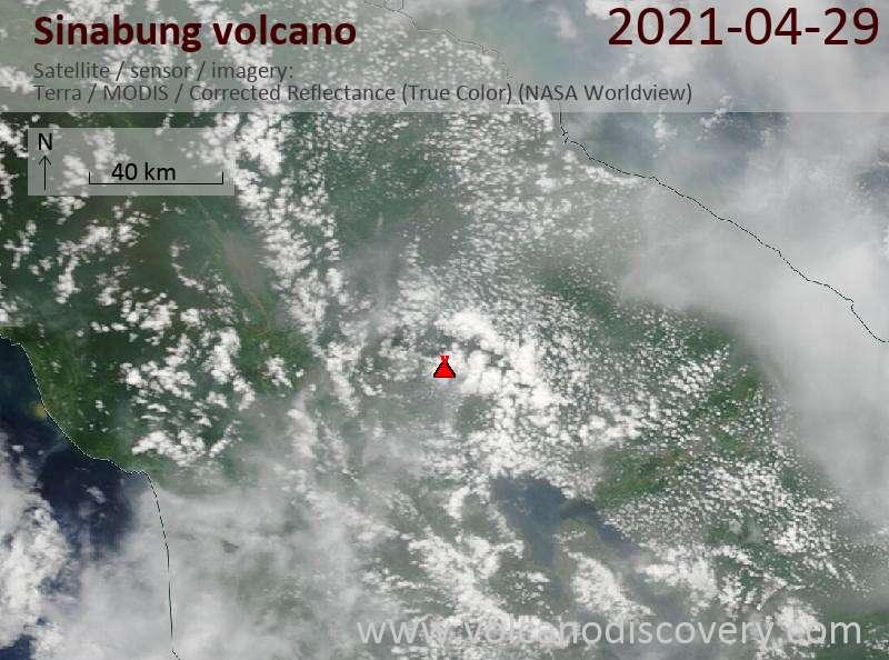 Satellite image of Sinabung volcano on 30 Apr 2021