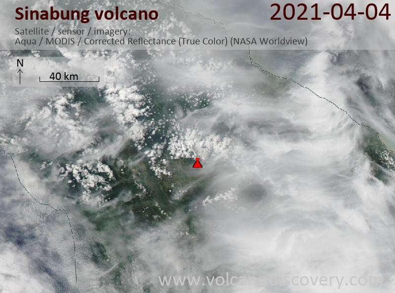 Satellite image of Sinabung volcano on  5 Apr 2021