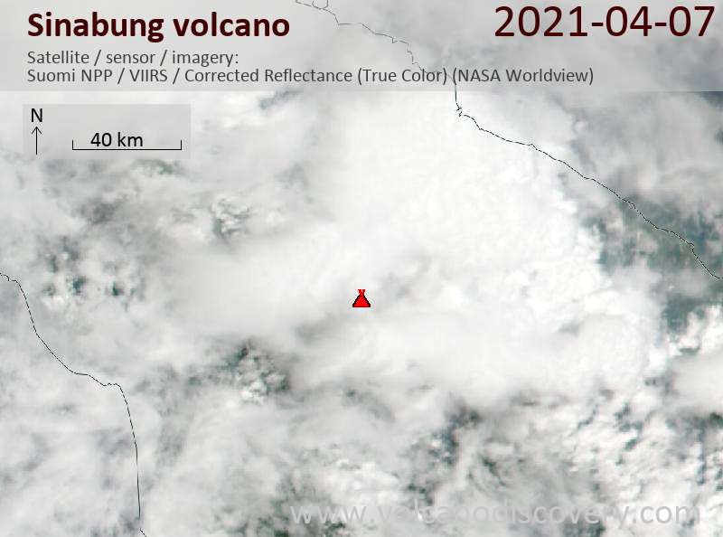 Satellite image of Sinabung volcano on  8 Apr 2021
