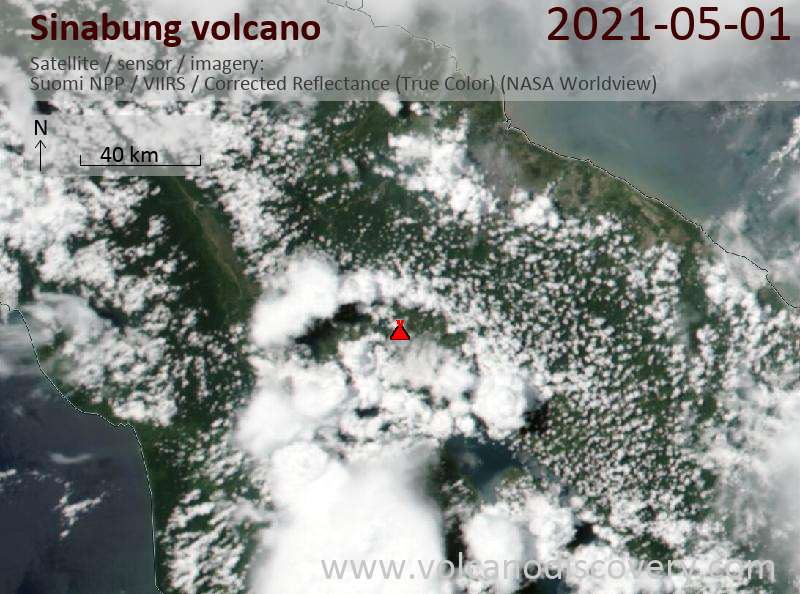 Satellite image of Sinabung volcano on  1 May 2021