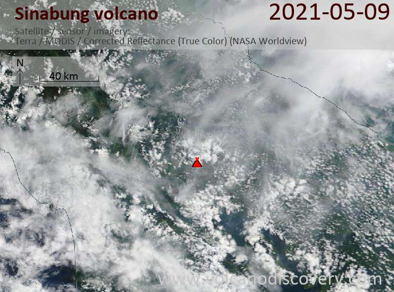 Satellite image of Sinabung volcano on 10 May 2021