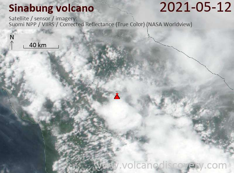 Satellite image of Sinabung volcano on 12 May 2021