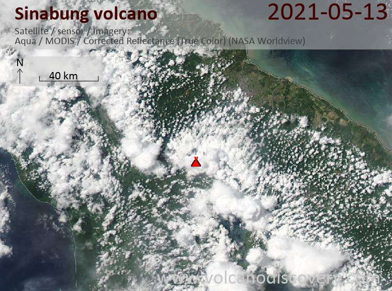 Satellite image of Sinabung volcano on 13 May 2021