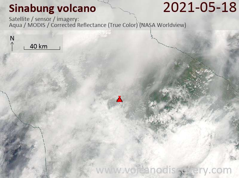 Satellite image of Sinabung volcano on 18 May 2021