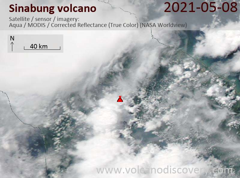 Satellite image of Sinabung volcano on  8 May 2021
