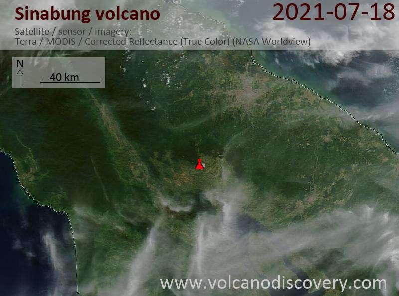 Satellite image of Sinabung volcano on 19 Jul 2021