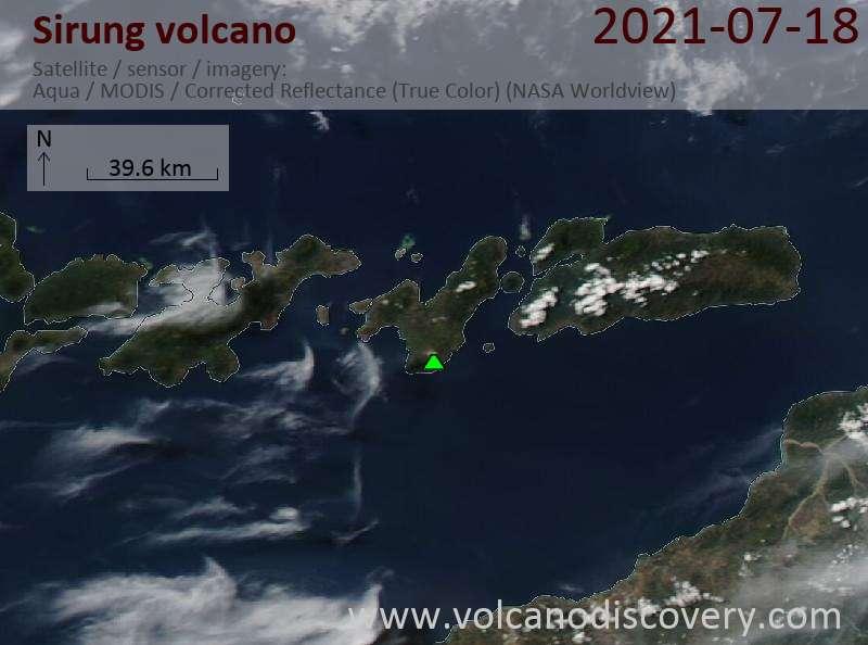 Satellite image of Sirung volcano on 21 Jul 2021