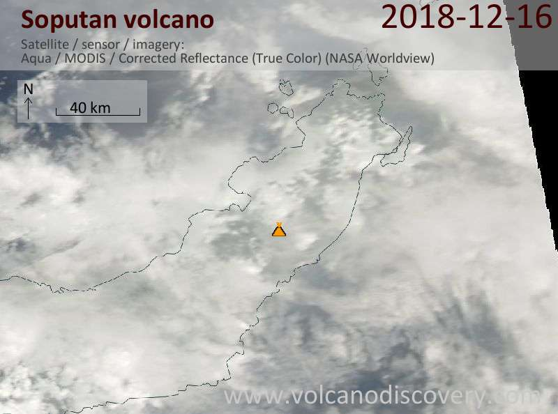 Satellite image of Soputan volcano on 16 Dec 2018