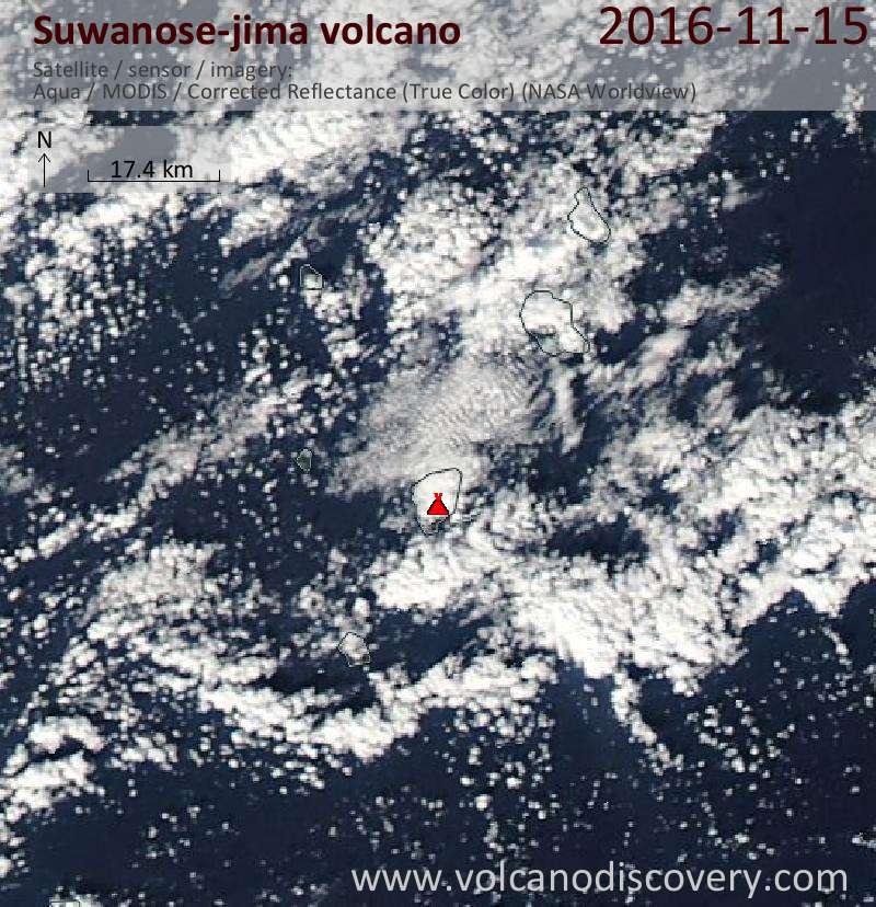 Satellite image of Suwanose-jima volcano on 16 Nov 2016