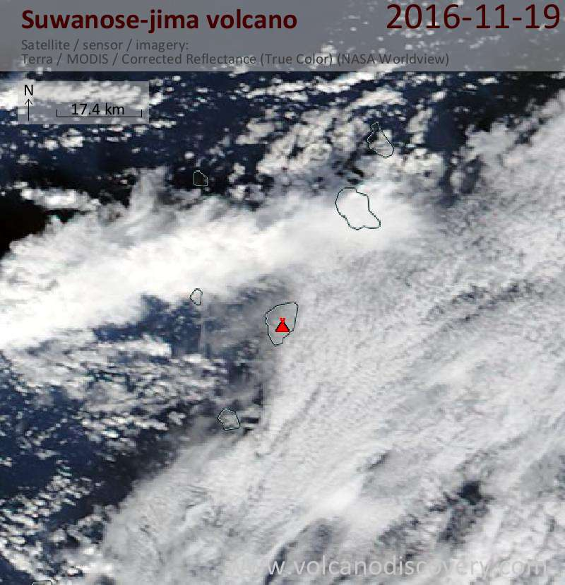 Satellite image of Suwanose-jima volcano on 19 Nov 2016