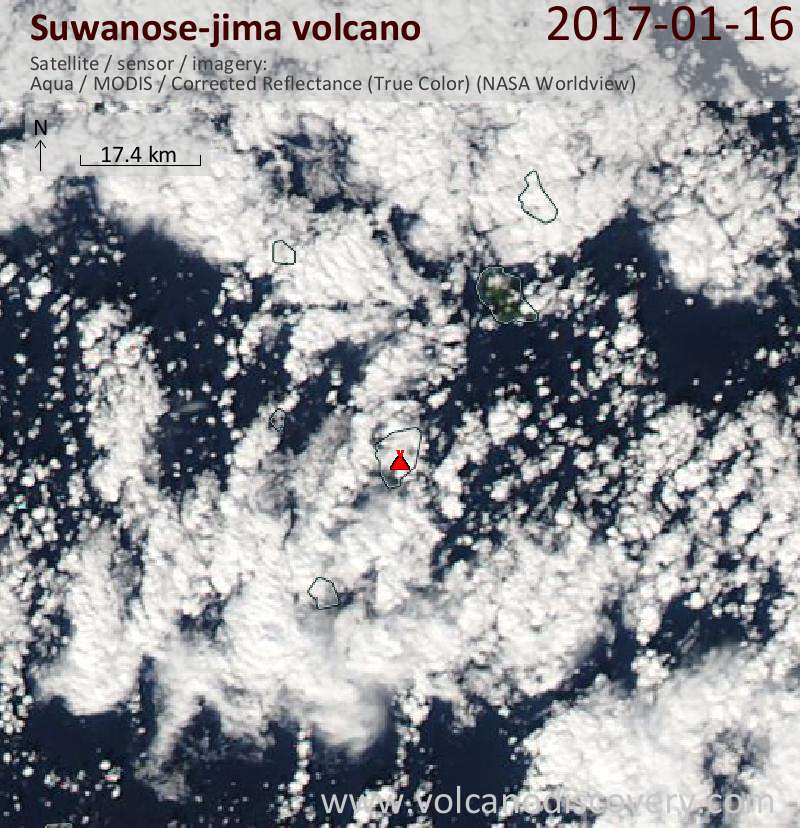 Satellite image of Suwanose-jima volcano on 16 Jan 2017