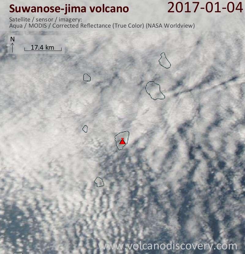 Satellite image of Suwanose-jima volcano on  4 Jan 2017