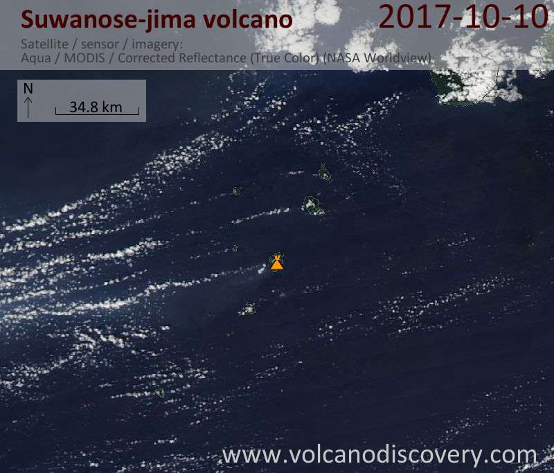 Satellite image of Suwanose-jima volcano on 10 Oct 2017