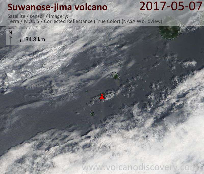 Satellite image of Suwanose-jima volcano on  7 May 2017