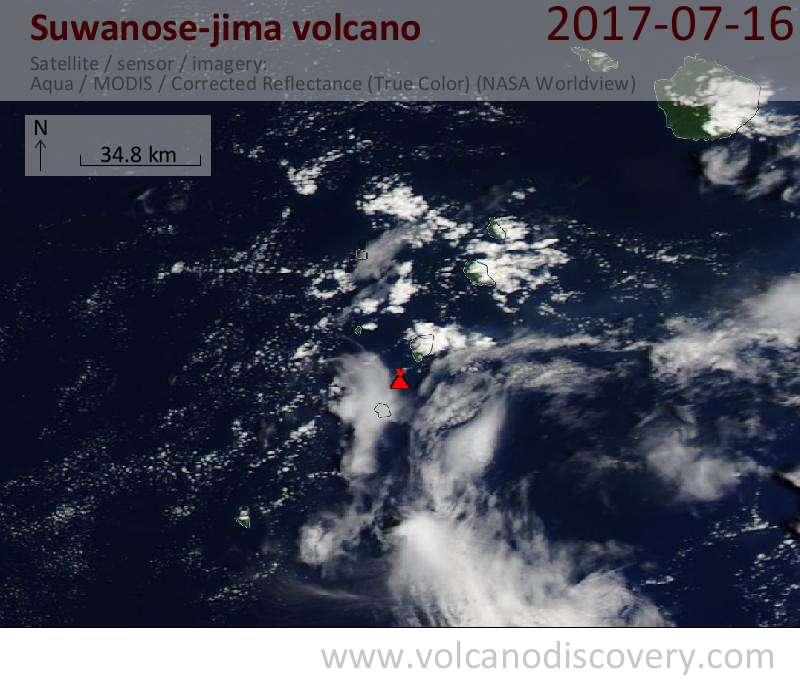 Satellite image of Suwanose-jima volcano on 16 Jul 2017