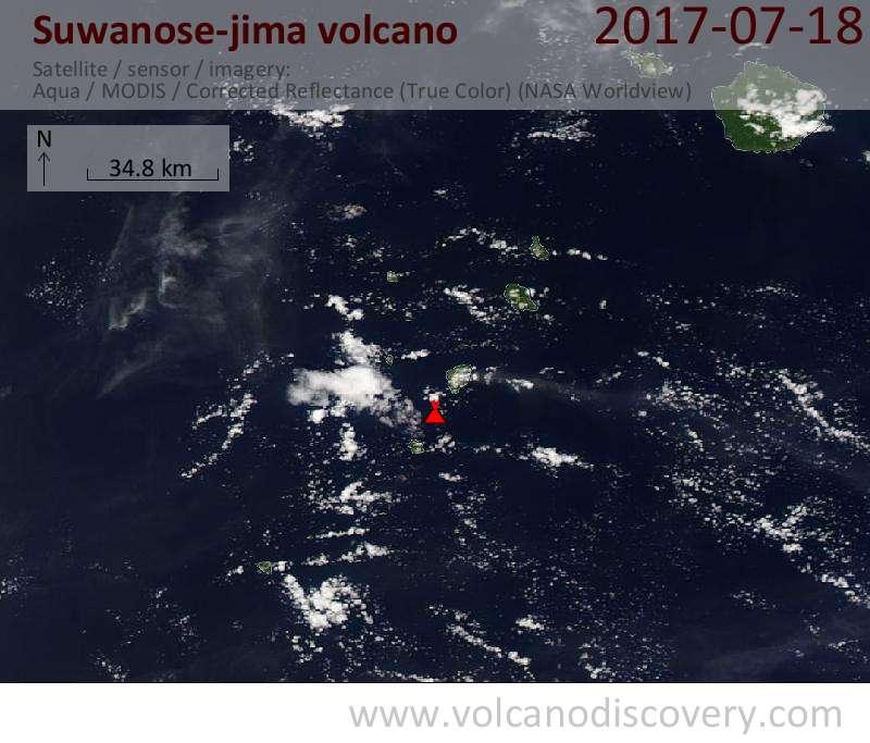Satellite image of Suwanose-jima volcano on 18 Jul 2017