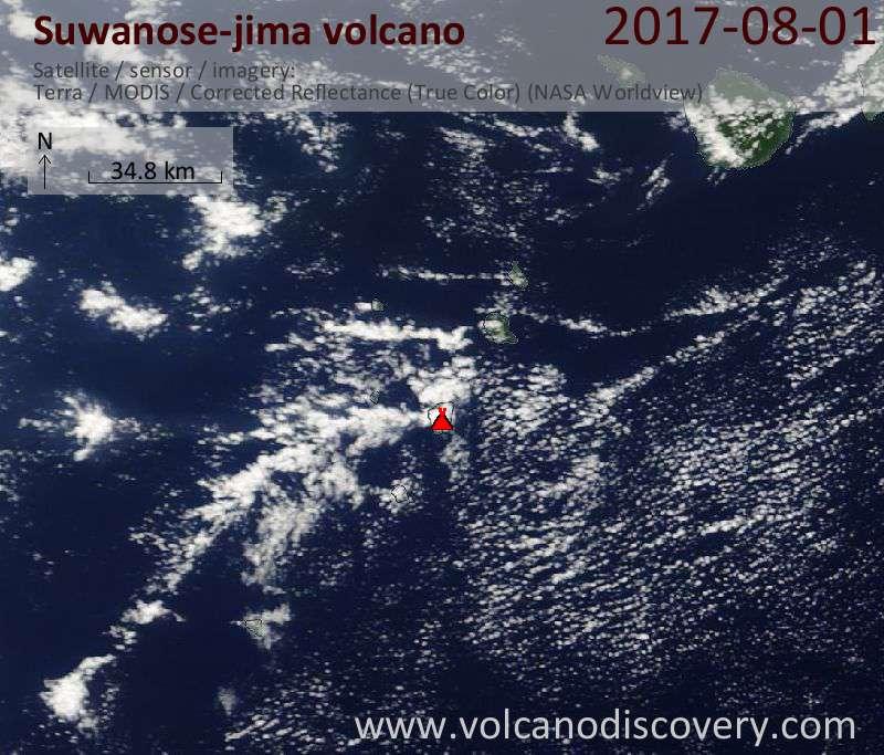 Satellite image of Suwanose-jima volcano on  1 Aug 2017