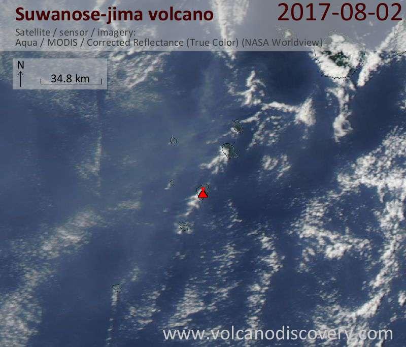 Satellite image of Suwanose-jima volcano on  2 Aug 2017