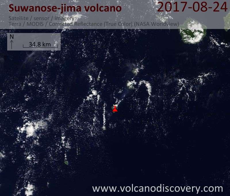 Satellite image of Suwanose-jima volcano on 24 Aug 2017