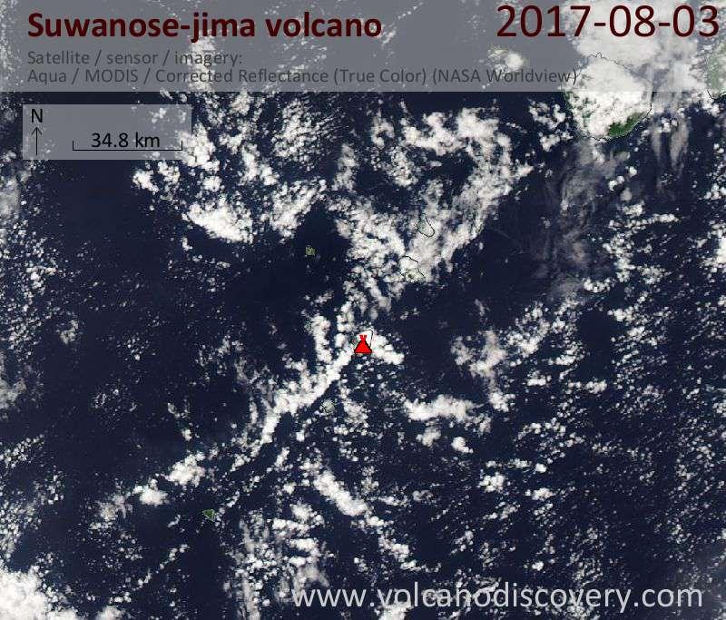 Satellite image of Suwanose-jima volcano on  3 Aug 2017