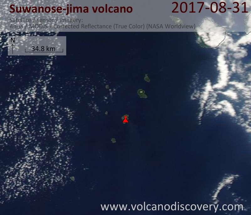 Satellite image of Suwanose-jima volcano on 31 Aug 2017