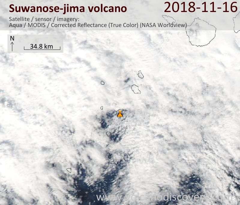 Satellite image of Suwanose-jima volcano on 16 Nov 2018
