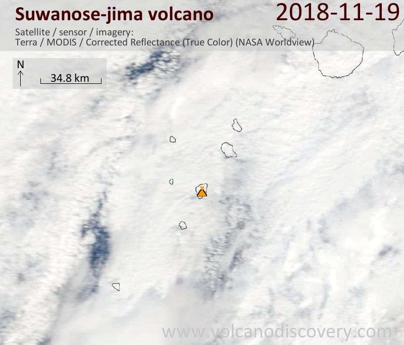 Satellite image of Suwanose-jima volcano on 19 Nov 2018