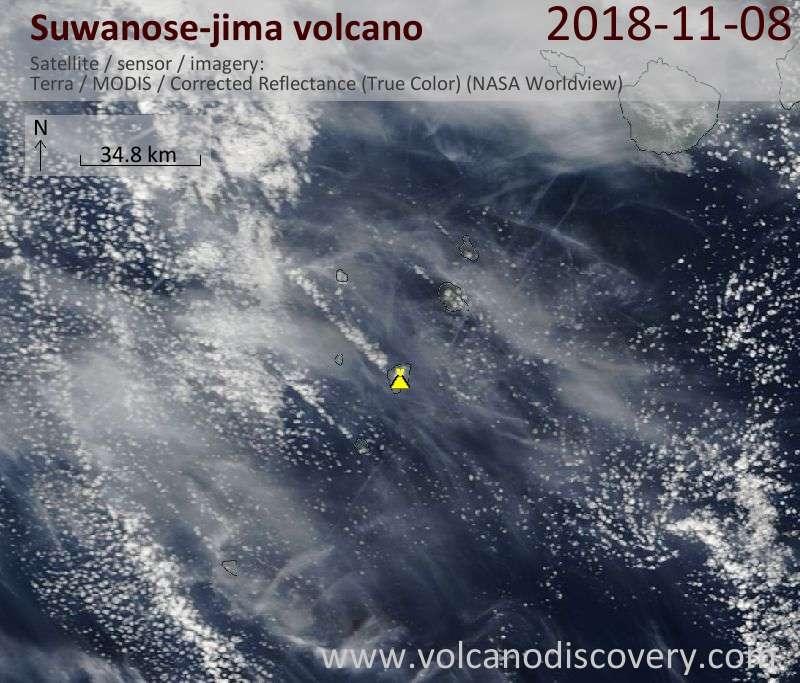 Satellite image of Suwanose-jima volcano on  8 Nov 2018